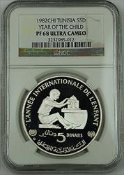 1982 Tunisia Silver 5 Dinars Proof Coin, NGC  UC, Year of the Child