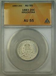 1883 Argentina 20 Centavos Silver Coin ANACS