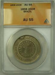 1898 Brazil 200 Reis Coin ANACS
