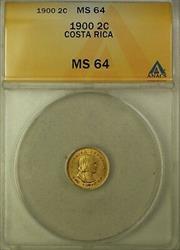 1900 Costa Rica 2 Colones Gold Coin ANACS