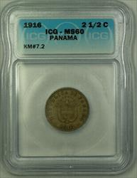 1916 Panama 2 1/2 Centesimos ICG  KM#7.2
