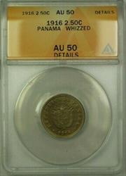 1916 Panama 2.50 Cent�simos Coin ANACS  Whizzed Details