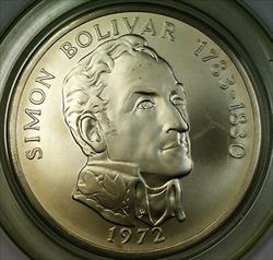 1972 Republic of Panama Twenty Balboa Huge Brilliant Uncirculated Silver Coin