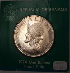 1974 1 Balboa Republic of Panama Proof Coin in Original Cardboard Holder