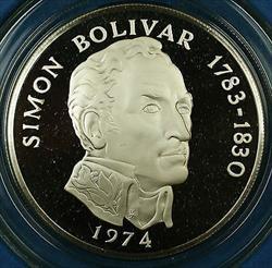 1974 Panama 20 Balboas Simon Bolivar Silver Proof Commemorative Coin-w/Box