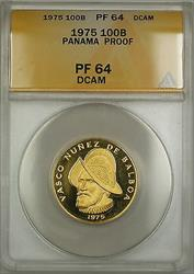 1975 Proof Panama 100B Balboas Gold Coin ANACS  DCAM