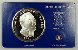 1976 Panama 20 Balboa Simon Bolivar 2 Pc .925 Silver Proof Coin Set w/Box & COA