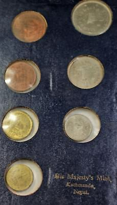 1956 Nepal Coronation His Majesty's Mint Uncirculated 7 Coin Set Dark Blue Case