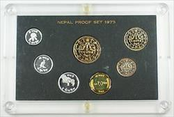 1973 Nepal Proof Set 7 Beautiful Gem Coins in Hard Plastic Case