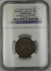 1270-85 France Gros Tournois Silver Coin Roberts-2454 Philip III NGC VF Dtls AKR