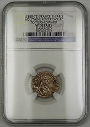 1355-75 France Hardi d'Argent Silver Coin Roberts-6832 Edward NGC VF Details AKR