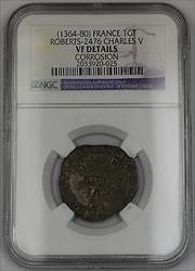 1364-80 France Gros Tournois Silver Coin Roberts-2476 Charles V NGC VF Dtls AKR