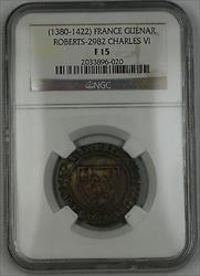 1380-1422 France Blanc Guenar Silver Coin Roberts-2982 Charles VI NGC  AKR
