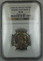 1547-49 France Teston Silver Coin Roberts-3503 Henry II NGC  AKR
