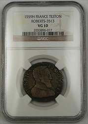 1559H France Teston Silver Coin Roberts-3513 Henry II NGC  AKR