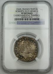 1560L France Teston Silver Coin Roberts-3515 Henry II NGC VF Details Env Dmg AKR