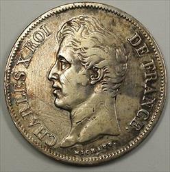 1828 Silver 5 Francs Crown Coin France JA