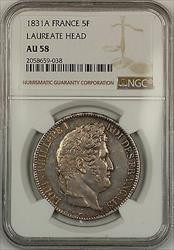 1831A Laureate Head France 5F Francs Silver Coin NGC