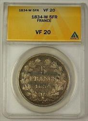 1834-W France Five Francs 5F Silver Coin ANACS