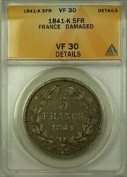 1841-K France 5 Francs Coin ANACS  Damaged Details