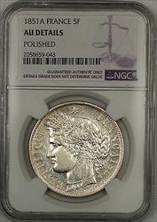 1851A France 5F Francs Silver Coin NGC AU Details Polished