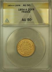1854-A France 20 Francs Gold Coin ANACS