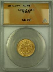 1864-A France 20 Fr Francs Gold Coin ANACS  B
