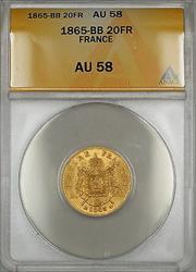 1865-BB France 20 Francs Gold Coin ANACS  SG