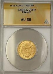 1866-A France 20 FR Francs Gold Coin ANACS