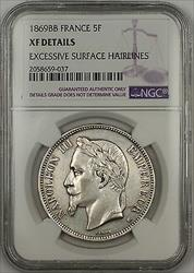 1869BB France 5F Francs Silver Coin NGC XF Details Excessive Surface Hairlines