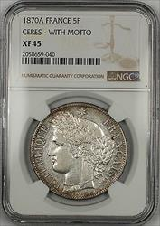 1870A Ceres with Motto France 5F Francs Silver Coin NGC