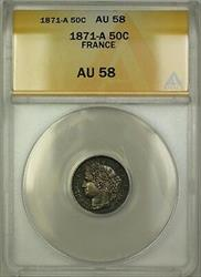 1871-A France 50C Fifty Centimes Coin ANACS