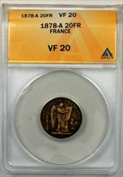 1878-A France 20 Francs Gold Coin ANACS
