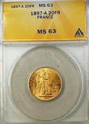 1897-A France 20 FR Francs Gold Coin ANACS