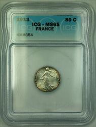 1913 France Silver 50 Centimes Rim Toning ICG  KM#854