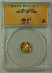 1992 Isle of Man 1/25c Gold Coin ANACS  DCAM Deep Cameo