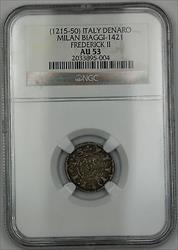 1215-50 Italy Denaro Silver Coin Milan Biaggi-1421 Frederick II NGC  AKR