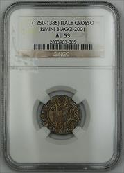1250-1385 Italy Grosso Silver Coin Rimini Biaggi-2001 NGC  AKR