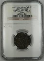 1266-85 Italy Carlin Silver Coin Sicily Mec-677 Charles I of Anjou NGC  AKR