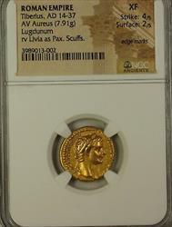 14-37AD Roman Empire Tiberius AV Gold Aureus Lundunum NGC XF Scuffs Edge Marks