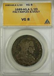 1689-AG, A 1/2D Ducato Italy-Naples and Sicily Coin ANACS