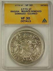 1773 Ragusa 1 Tallero Silver Coin  Details Mounts Removed Damaged Cleaned