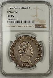 1826 Eagle L Italy Sardinia Silver 5 Lire Coin NGC