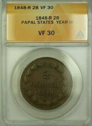 1848-R Papal States Year III 2 Baiocchi Coin ANACS