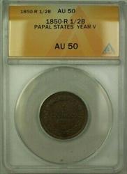 1850-R Papal States Year V 1/2 Baiocchi Coin ANACS