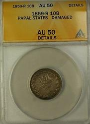 1859-R Papla States 10B Silver Coin ANACS  Details Damaged