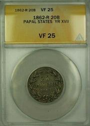 1862-R Papal States Year XVII 20 Baiocchi Coin ANACS
