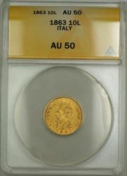 1863 Italy 10L Lire Gold Coin ANACS