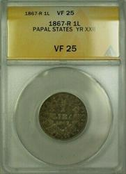1867-R Papal States Year XXII 1 Lira Coin ANACS