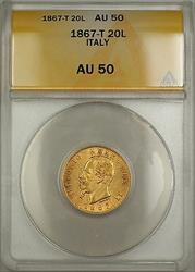 1867-T Italy 20L Lire Gold Coin ANACS